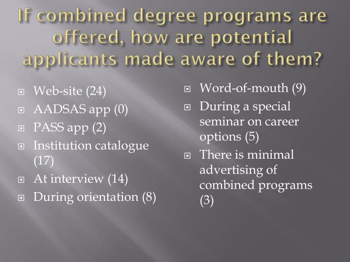If combined degree programs are offered, how are potential applicants made aware of them?