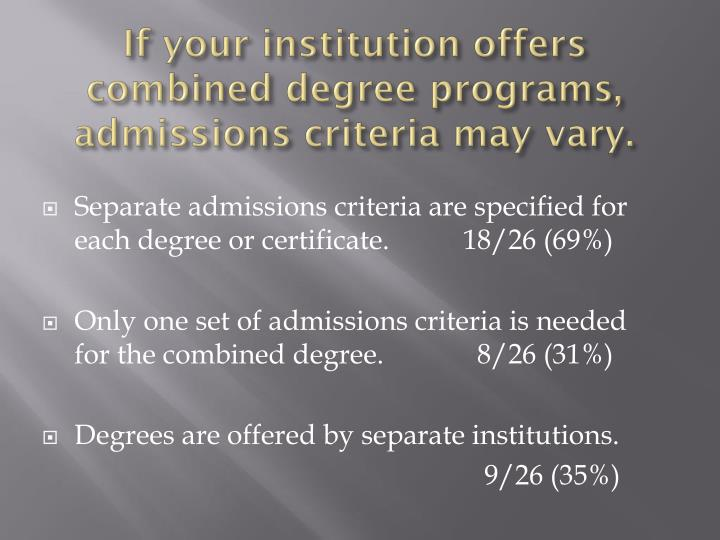 If your institution offers combined degree programs, admissions criteria may vary.