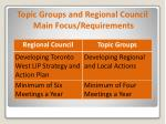 topic groups and regional council main focus requirements