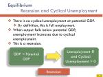 equilibrium recession and cyclical unemployment