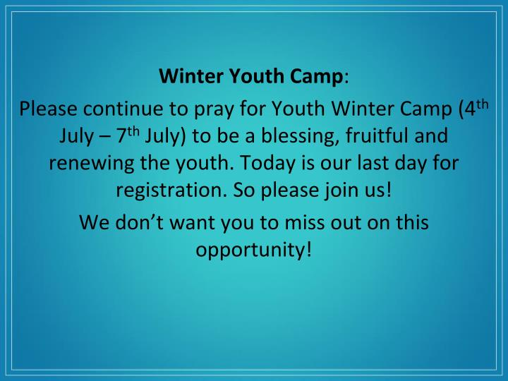 Winter Youth Camp