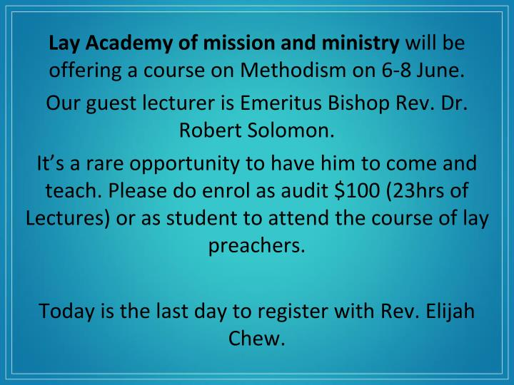 Lay Academy of mission and ministry