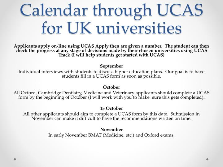 Calendar through UCAS for UK universities