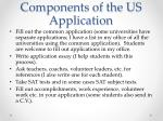 components of the us application