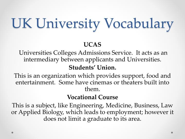 UK University Vocabulary