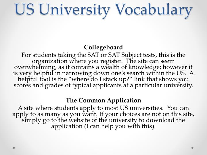 US University Vocabulary