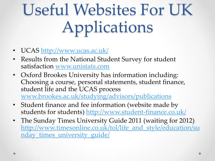 Useful Websites For UK Applications