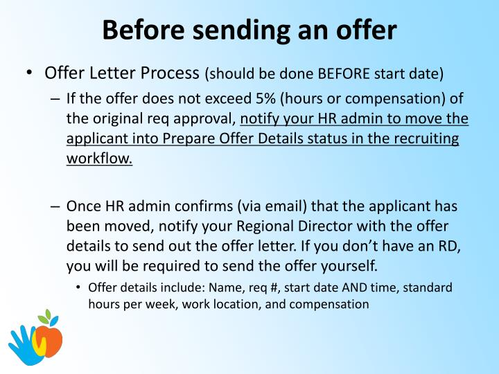 Before sending an offer