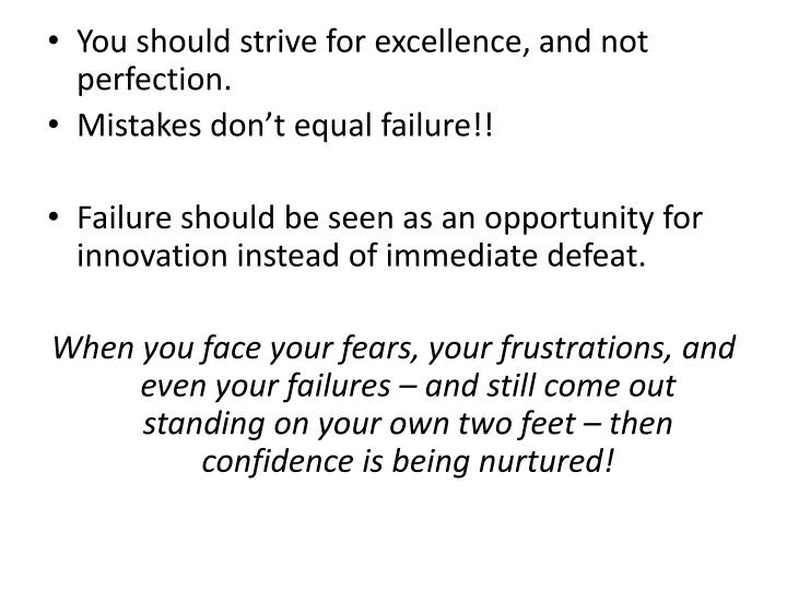 You should strive for excellence, and not perfection.