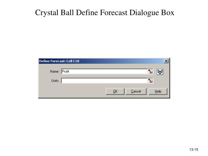Crystal Ball Define Forecast Dialogue Box