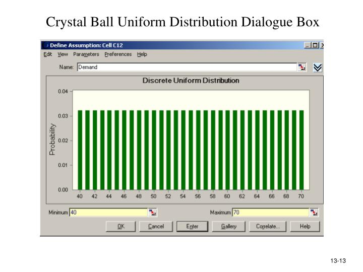 Crystal Ball Uniform Distribution Dialogue Box