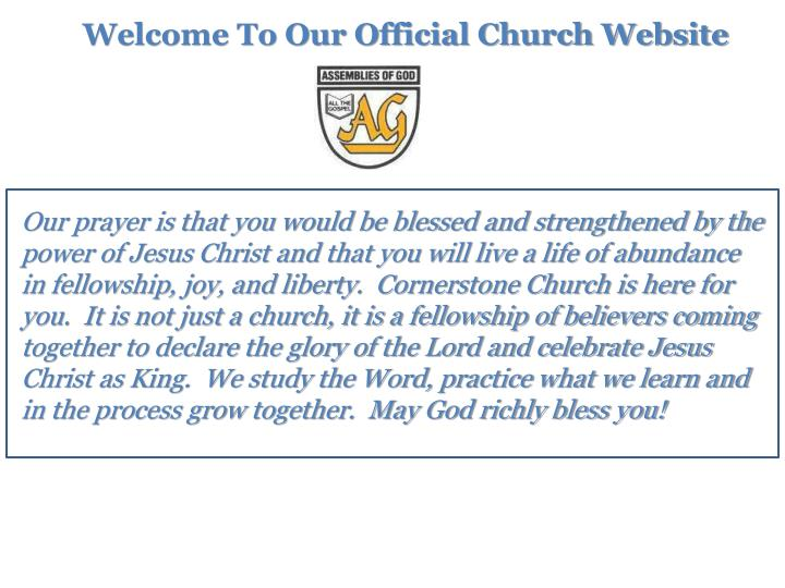 Welcome To Our Official Church Website