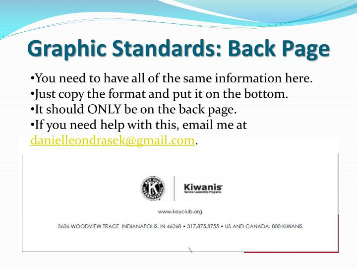 Graphic Standards: Back Page