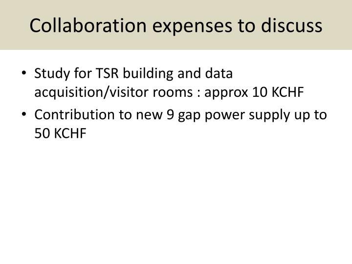 Collaboration expenses to discuss