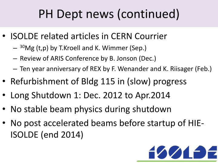 Ph dept news continued