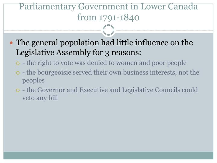 Parliamentary Government in Lower Canada from 1791-1840