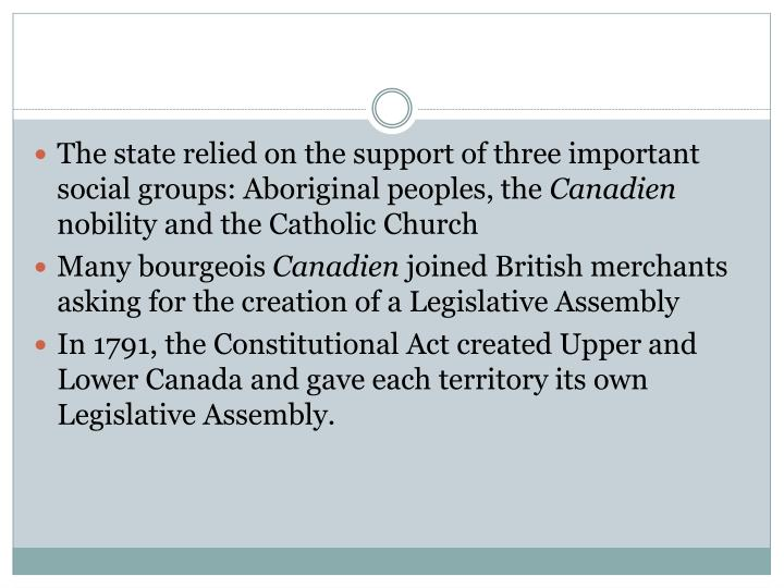 The state relied on the support of three important social groups: Aboriginal peoples, the