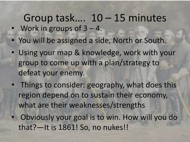 Group task….  10 – 15 minutes