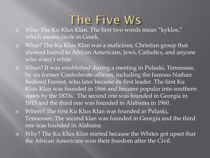 The Five Ws
