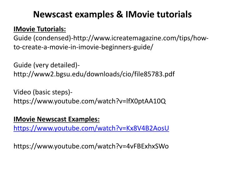 newscast examples imovie tutorials