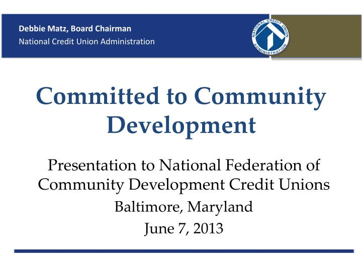 Committed to community development