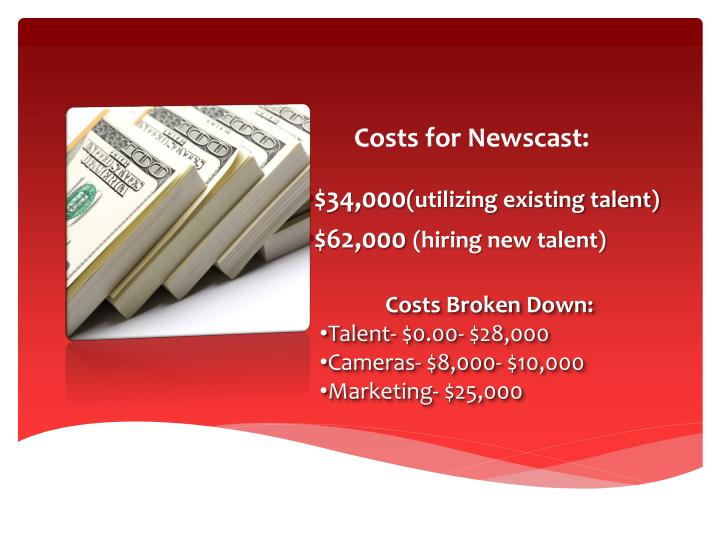 Costs for Newscast: