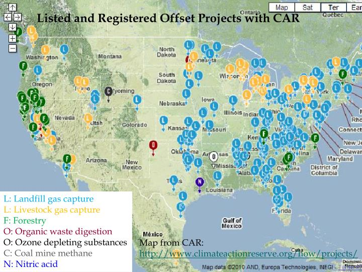Listed and Registered Offset Projects with CAR