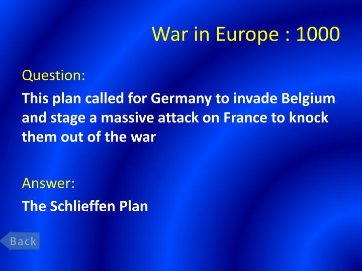War in Europe :