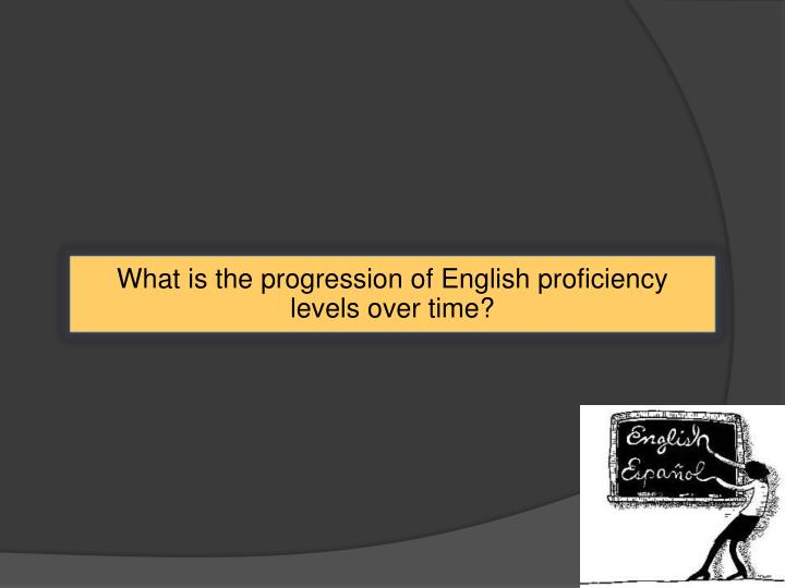 What is the progression of English proficiency