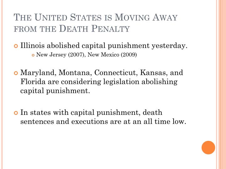 The United States is Moving Away from the Death Penalty