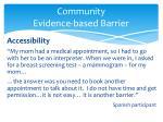 community evidence based barrier2