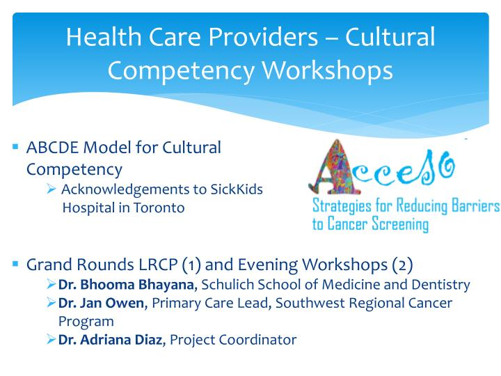 Health Care Providers – Cultural Competency Workshops