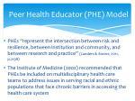 peer health educator phe model