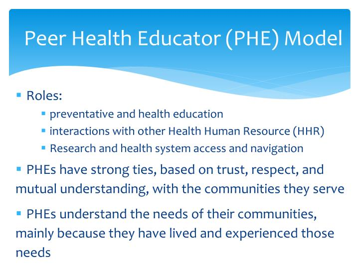 Peer Health Educator (PHE) Model