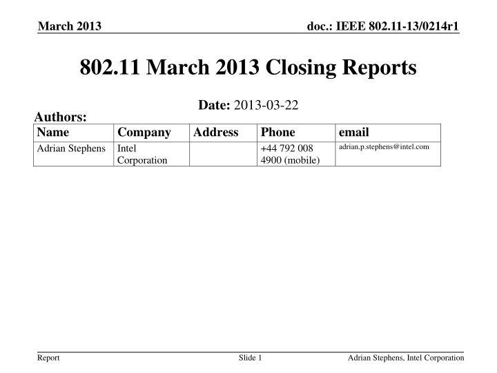 802 11 march 2013 closing reports