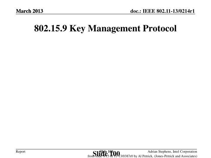 802.15.9 Key Management Protocol