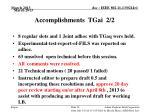 accomplishments tgai 2 2