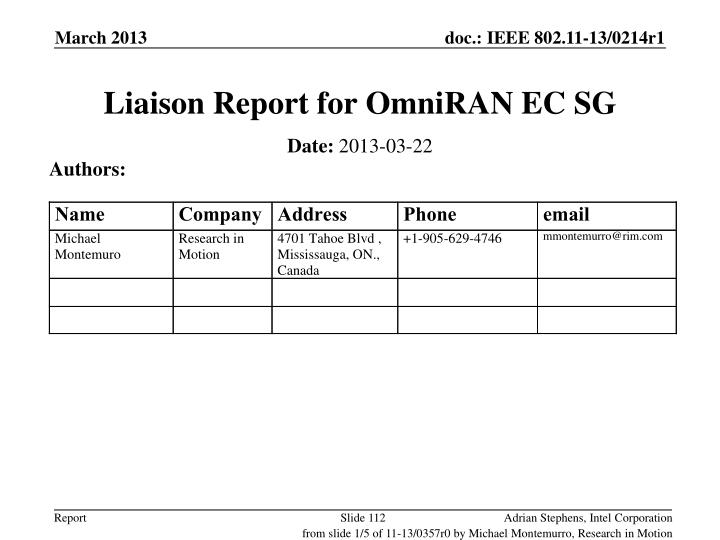 Liaison Report for