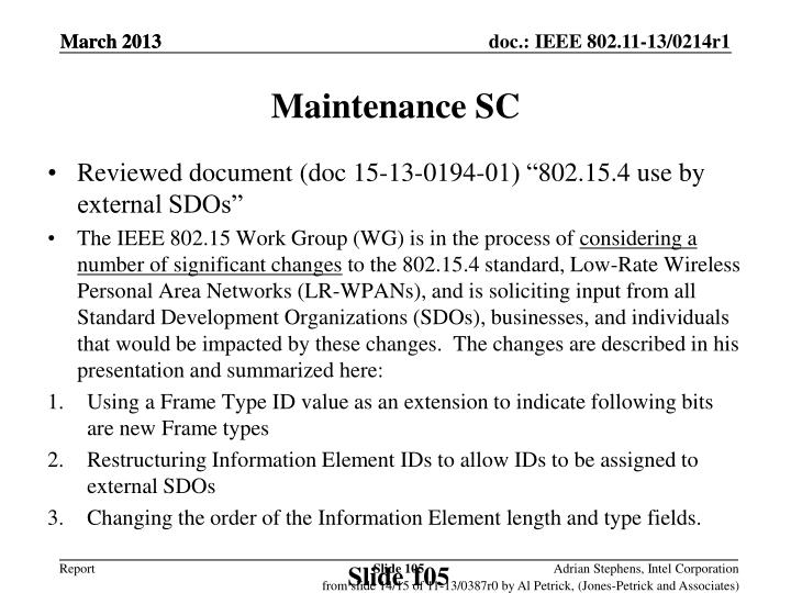 Maintenance SC