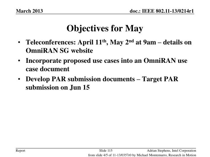 Objectives for May
