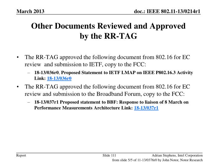 Other Documents Reviewed and Approved