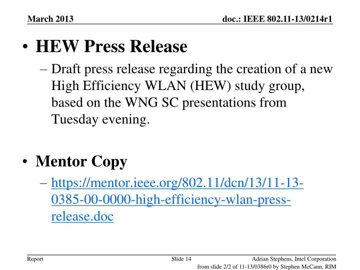 HEW Press Release