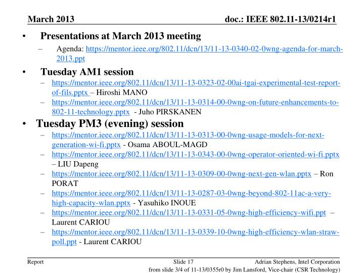 Presentations at March 2013 meeting