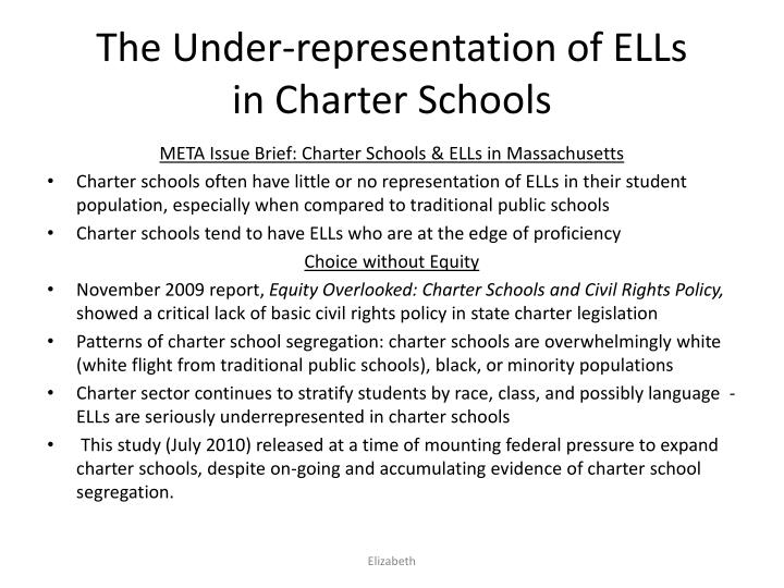 The under representation of ells in charter schools