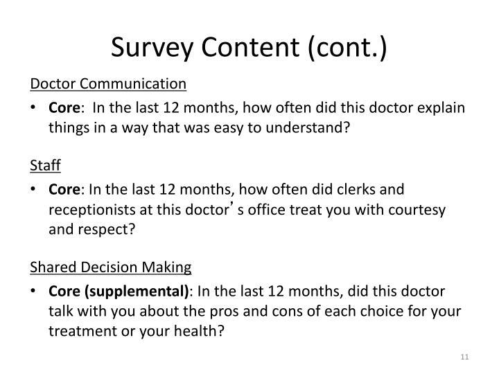 Survey Content (cont.)