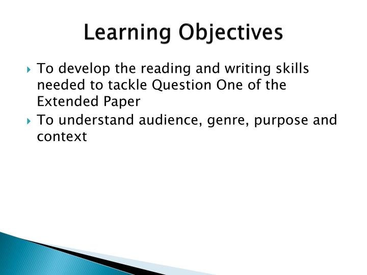 writing learning objectives powerpoint Grade 3 reading and literature objectives  use both simple and compound sentences when writing paragraphs identify and write declarative, imperative,.