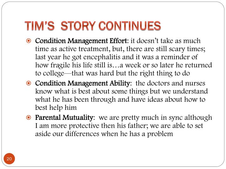 Tim's  Story Continues