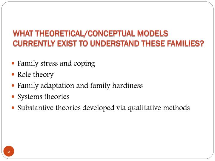 What Theoretical/Conceptual Models Currently Exist To Understand These Families?