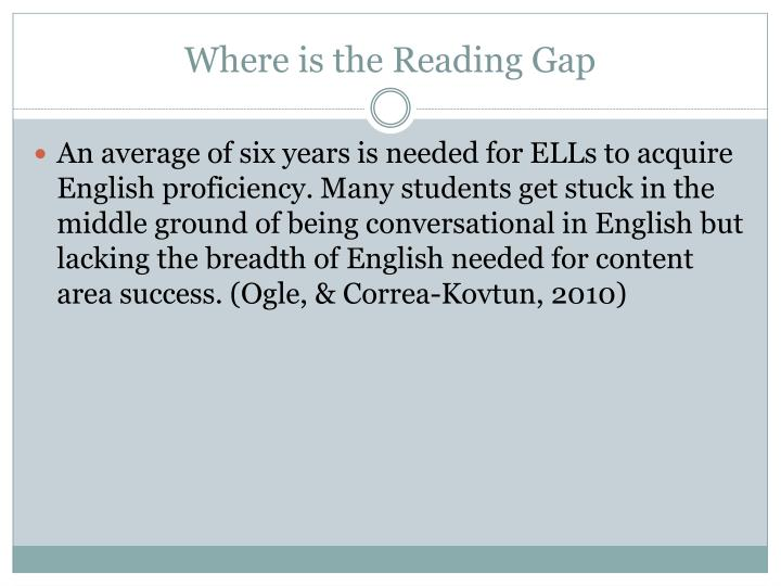Where is the Reading Gap