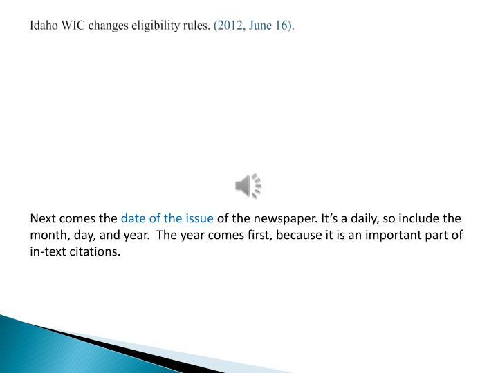 Idaho WIC changes eligibility rules